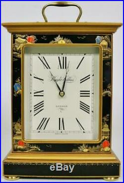 Beautiful Vintage English Knight & Gibbins Lacquered Chinoiserie Carriage Clock