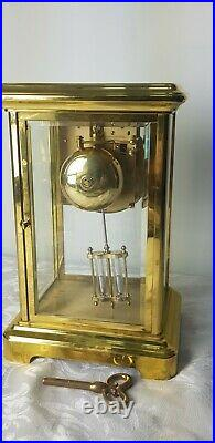 Brass Vintage Four Glass Rapport London Double Bell strike Mantle Clock