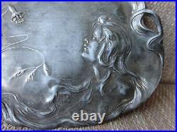 Circa 1890 Arts & Crafts Visitng Card Tray Silver Plate Art Nouveau Lady Vintage