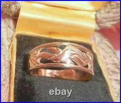DIVINE ENGLISH WIDE ANTIQUE VINTAGE 9CT GOLD CIGAR BAND DRESS RING 3gm 375