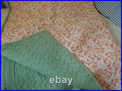Divine vintage 1930s/40s Durham quilt pink roses, paisley 80 x 68 green backed