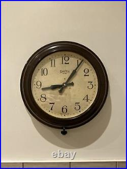 ENGLISH 1950s SMITHS Midcentury Vintage Industrial Factory Bakelite Wall Clock