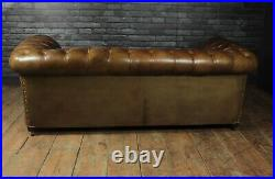English Leather Chesterfield with Buttoned Seat, vintage, original, antique
