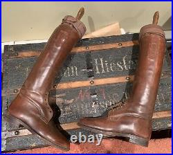 English Leather Hunting Riding Boots With Wooden Boot Trees Vintage Antique