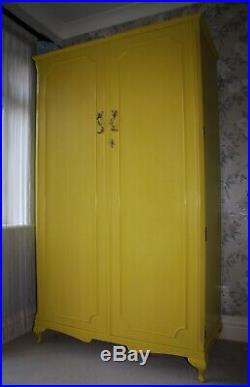 English Yellow Vintage Compactum Wardrobe Interior Lit Hand Painted Annie Sloan