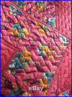 Exquisite Vintage 1940's Comfy Cerise Pink Floral Quilt 88 X 68 XL Reversible