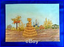 Exquisite Vintage Hand Embroidered Panel Crinoline Lady Cottage Garden Flowers