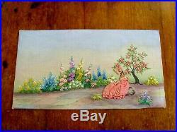 Exquisite Vintage Hand Embroidered Picture Panel Crinoline Lady Cottage Garden