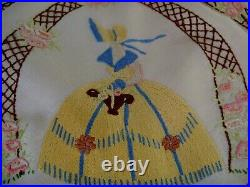 Exquiste Vintage Hand Embroidered Tablecloth Crinoline Lady Garden Flowers Lace