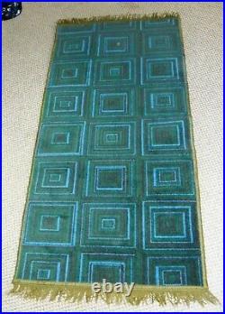 Fab Original Retro Vintage 1960's 1970's CROSSLEY Green Geometric Squares Rug