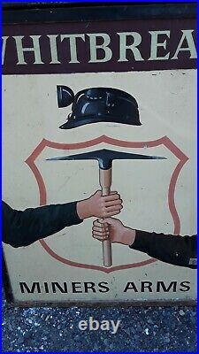 Fantastic original vintage british pub sign miners arms approx 30x40 metal