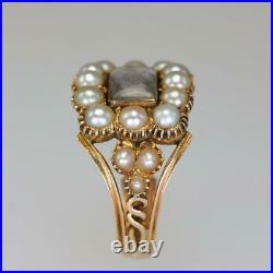 Georgian 15ct Gold Pearl Antique Memorial Ring Circa 1800 Vintage English Ring