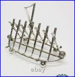 Golf Interest Novelty Vintage English Silver Plated 7 Bar Golf Toast Rack