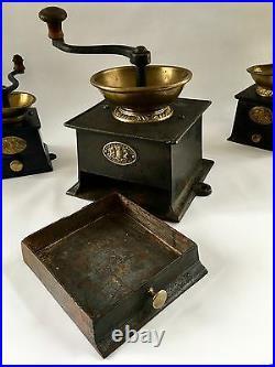 HUGE+RARE #5 Antique/Vintage J&W FINDLAY English Iron+Brass Coffee Mill/Grinder