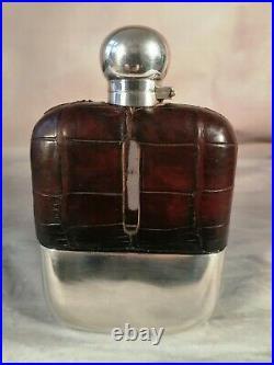 Hip Flask Antique Edwardian Vintage English crocodile HM Silver James Dixon 1919