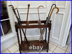 Large Antique Vintage English Dark Oak Barley Twist Umbrella Stick Stand