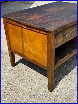 Large Rustic Wooden Antique Vintage Prep Table Storage Chest Kitchen Island