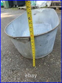 Large Vintage Galvanised Bath Tub Garden Planter