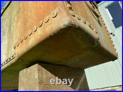 Large vintage Galvanise Riveted Water Trough Garden Planter feature ring