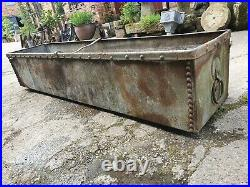 Large vintage Galvanise Riveted Water tight Trough Garden Water feature ring