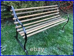 Lovely English Vintage metal and oak garden bench in fabulous condition
