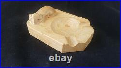 Mouseman Ashtray Vintage Hand Carved English Oak Robert Mousey Thompson Kilburn