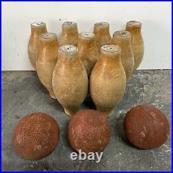 Original English Vintage Antique Pub Bar 9 Pin 10.5 Wooden Skittles + 3 Balls