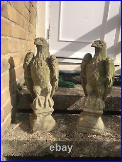 PAIR VINTAGE Antique Weathered STONE EAGLES GARDEN GATEWAY STATUES