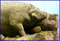 PIGS PIG STONE CONCRETE EATING APPLES VINTAGE 1970s LARGE HEAVY GARDEN ORNAMENT