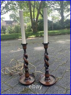 Pair Antique Vintage English Dark Oak Barley Twist Candlestick Buffet Lamps