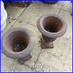 Pair Vintage Cast Iron Urns. 33cm high
