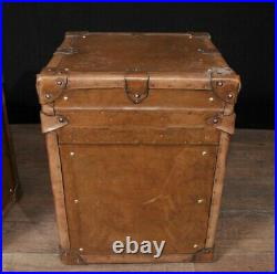 Pair Vintage Steamer Trunk Luggage Boxes Side Tables English Leather Trunks