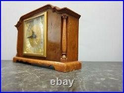 Quality Vintage English Burr Wood Architectural Elliott 8 Day Mantle Clock