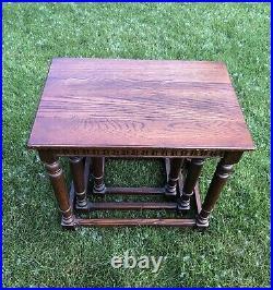 RARE Vintage Ethan Allen Royal Charter English Oak Set Nesting / Nested Tables
