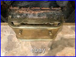 Rare Antique Vintage 19c English Brass Coal Fireplace Fender Surround Hearth