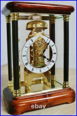Rare Vintage 8 Day Passing Strike Mahogany & Glass Tourbillion Skeleton Clock