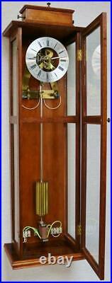 Rare Vintage Solid Oak & 6 Glass Panelled Slimline Cased Electric Wall Clock