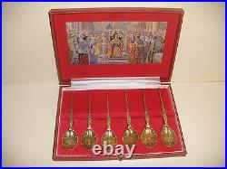 Rare Vintage Sterling Silver English Coronation Anointing 6 Spoon set S. J Rose