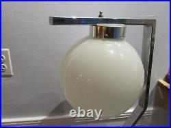 Rare Vtg MCM ART DECO Floor Lamp Chrome Zig Zag With Glass Bowl