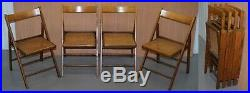 Set Of Four Vintage English Military Campaign Folding Chairs Berger Rattan Seat