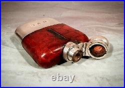 Silver Hip Flask Antique Edwardian Vintage English crocodile James Dixon c1920