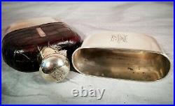 Silver Hip Flask Large Antique Edwardian Vintage English crocodile c1910 Xmas
