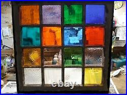 Stained glass in Vintage window. 26 x 25