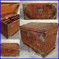 Stationery Cabinet Antique Victorian Vintage English Oak Writing Box C1895