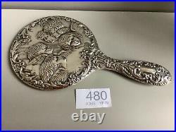 Sterling silver vintage hand mirror English Hallmarked silver Angels
