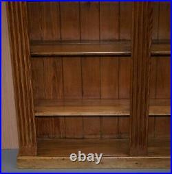 Stunning Vintage Circa 1950's Solid English Pine Corner Bookcase Ornately Carved