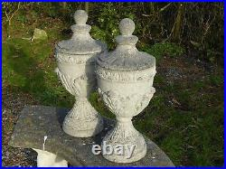 Stylish Pair of Vintage Lidded Garden Urn Gatepost Toppers Finials 55cm Tall