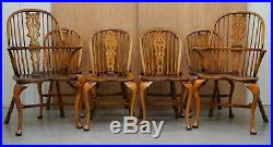 Suite Of Eight Vintage English Windsor Dining Chairs Including Two Armchairs 8