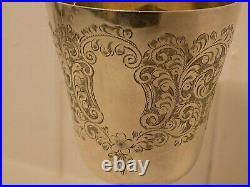 Superb Set Of 6 Vintage English Silver Goblets. Hand Etched Detail. 772g. 1967/7