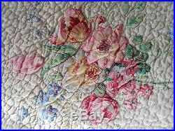 Superb Vintage Durham Sanderson Chintz Double Bedspread Quilt Floral Roses